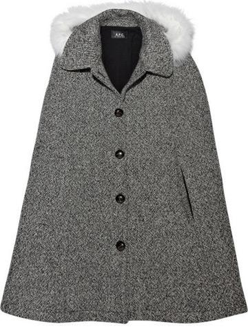 Capa din tweed cu blana A.P.C