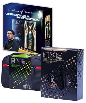 Cadouri pentru barbati de la Axe, Rexona si Clear