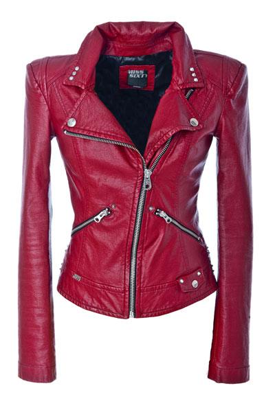 Jacheta din piele, cu capse metalice, Miss Sixty
