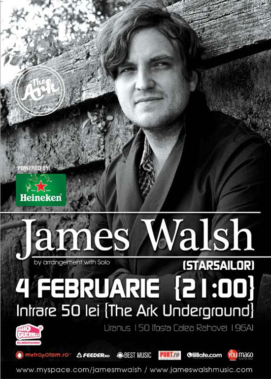 James Walsh, solistul Starsailor, concert la The Ark