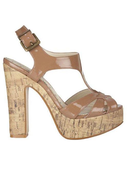 Sandale din piele, cu talpa din pluta, Debenhams