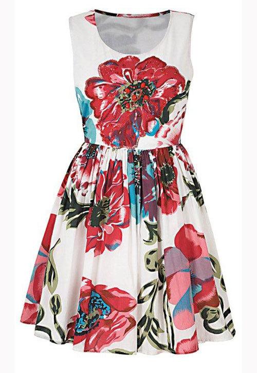 Rochie din bumbac, cu imprimeu floral, Debenhams
