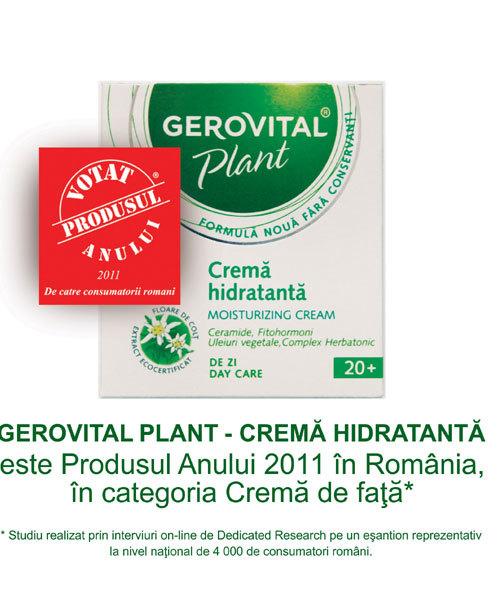 Gerovital Plant Crema Hidratanta, Produsul Anului 2011 in Romania