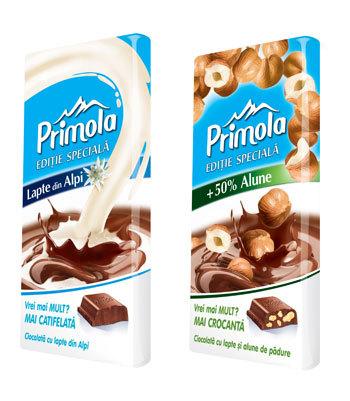 Primola editie Limitata: ciocolata cu lapte alpin si ciocolata cu alune