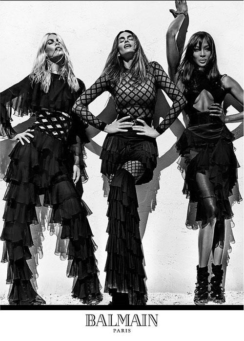 Supermodelele Claudia Schiffer, Cindy Crawford si Naomi Campbell, vedetele campaniei Balmain