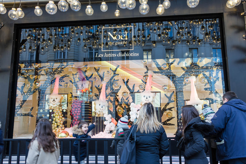 49069377 - paris, france-november 28, 2015 : the christmas showcase in department store le bon marche located 38 rue de sevres in paris, france.this store was founded in 1852.