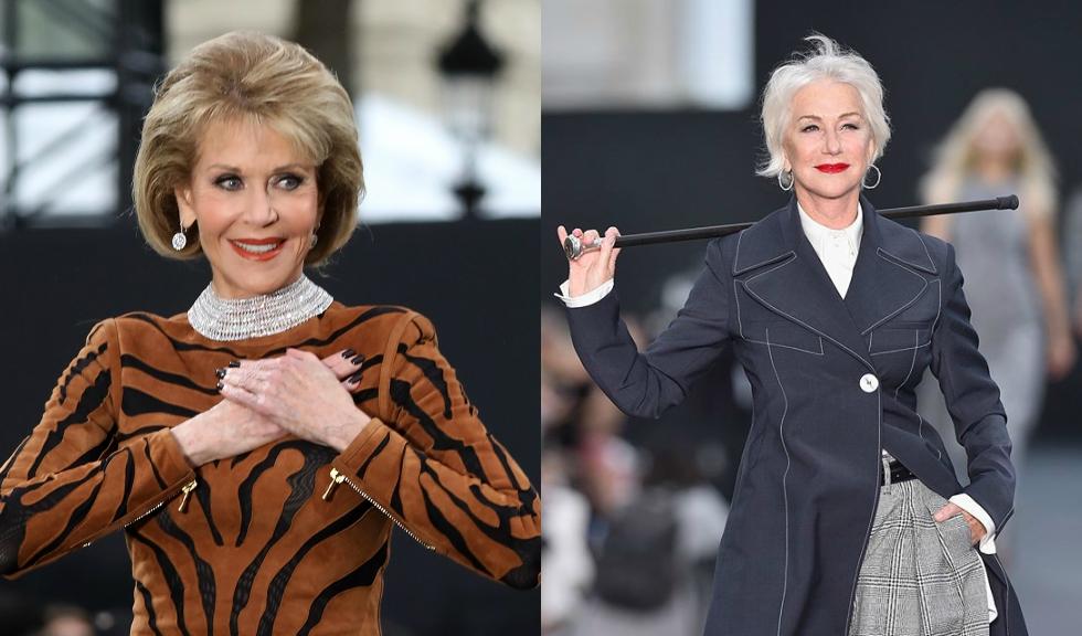 Jane Fonda si Helen Mirren, aparitie spectaculoasa pe catwalk in Paris