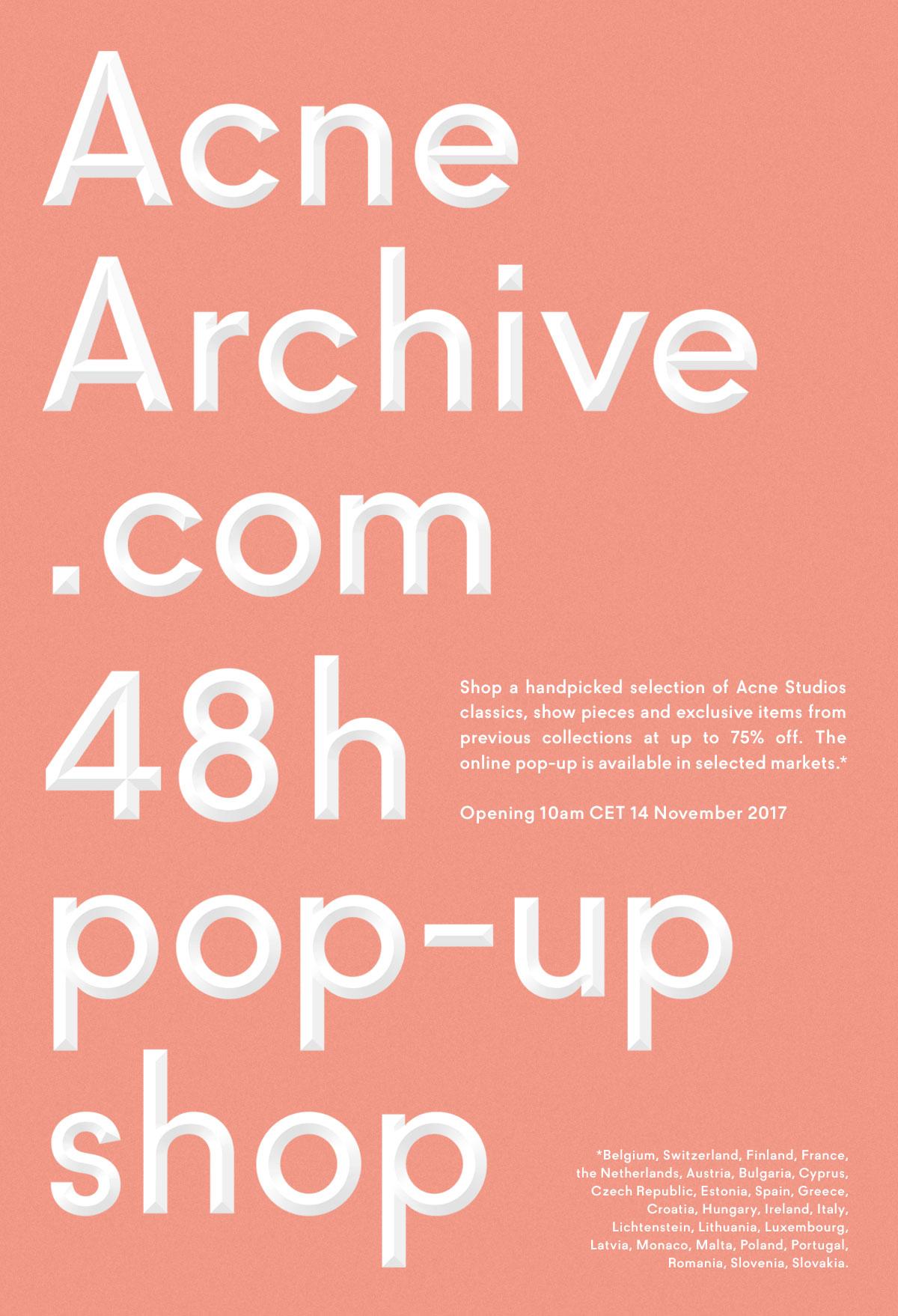 Pop-up shop online Acne Studios, exclusiv pentru Romania