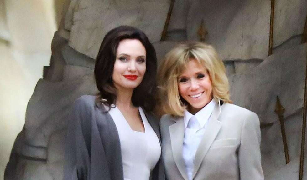 Angelina Jolie și Brigitte Macron au avut cea mai stylish întâlnire, în Paris