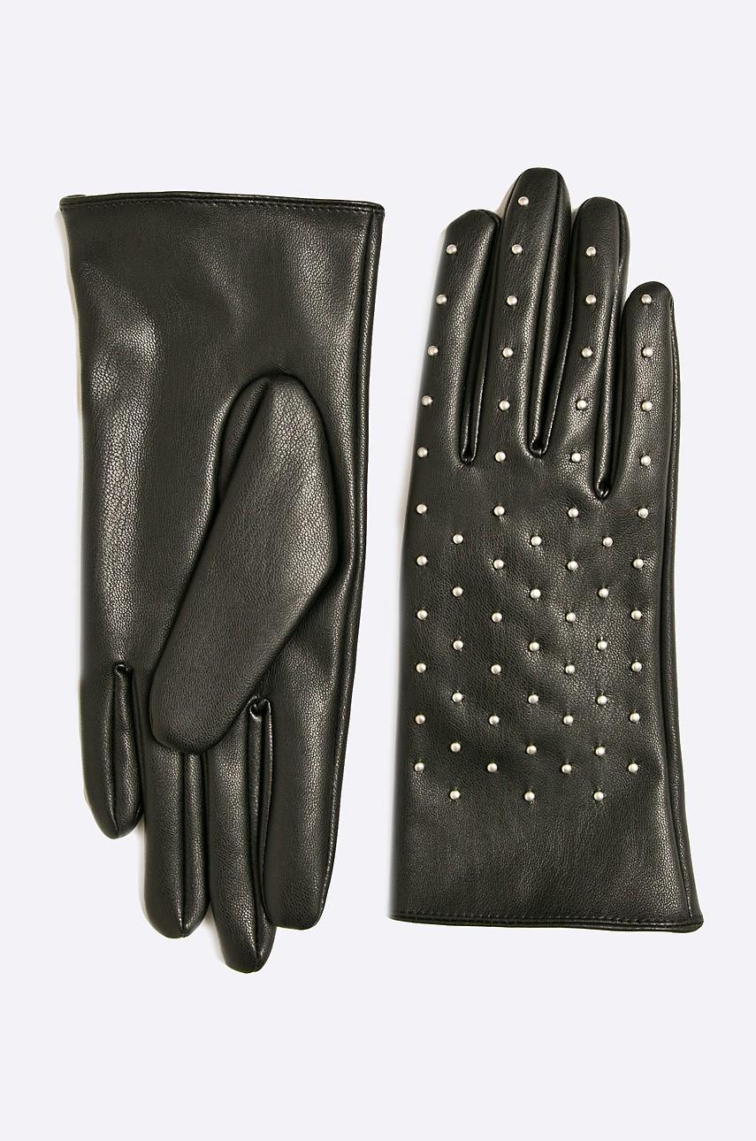 mănuși de iarnă. mănuși de iarnă negre din piele ecologică