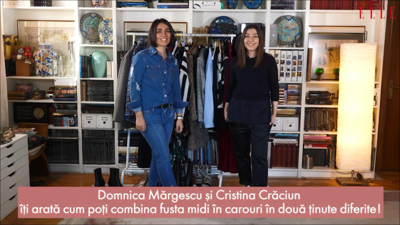 #ELLETeam: Cum să porți fusta în carouri, în 2 stiluri diferite, cu Domnica Mărgescu și Cristina Crăciun (VIDEO)