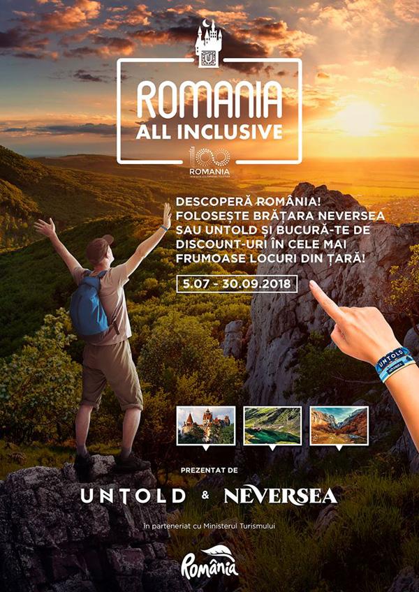 """UNTOLD – Primul brand ambasador al turismului românesc! Descoperă campania """"România All Inclusive""""!"""