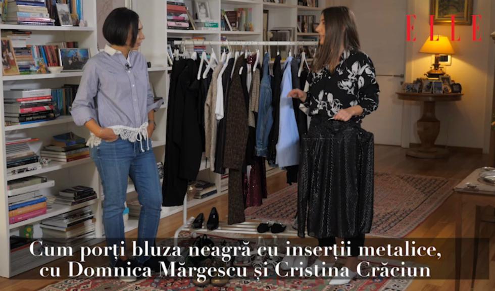 #ELLETeam: Cum să porți bluza neagră cu inserții metalice, cu Domnica Mărgescu și Cristina Crăciun (VIDEO)