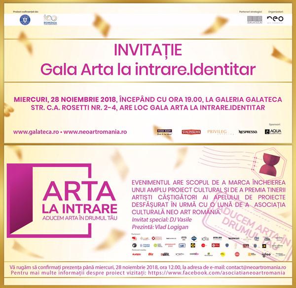 Gala Arta la intrare. Identitar, powered by Biz – miercuri 28 noiembrie, ora 19:00