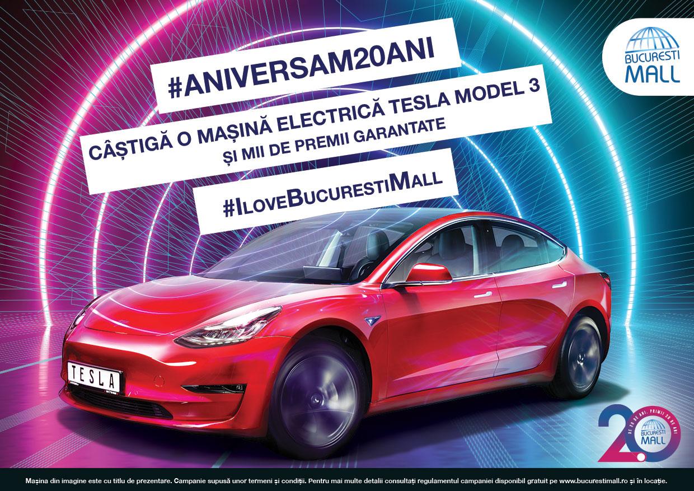 (P) Bucuresti Mall-Vitan aniversează 20 de ani și îți oferă șansa să câștigi o Mașină electrică tesla Model 3