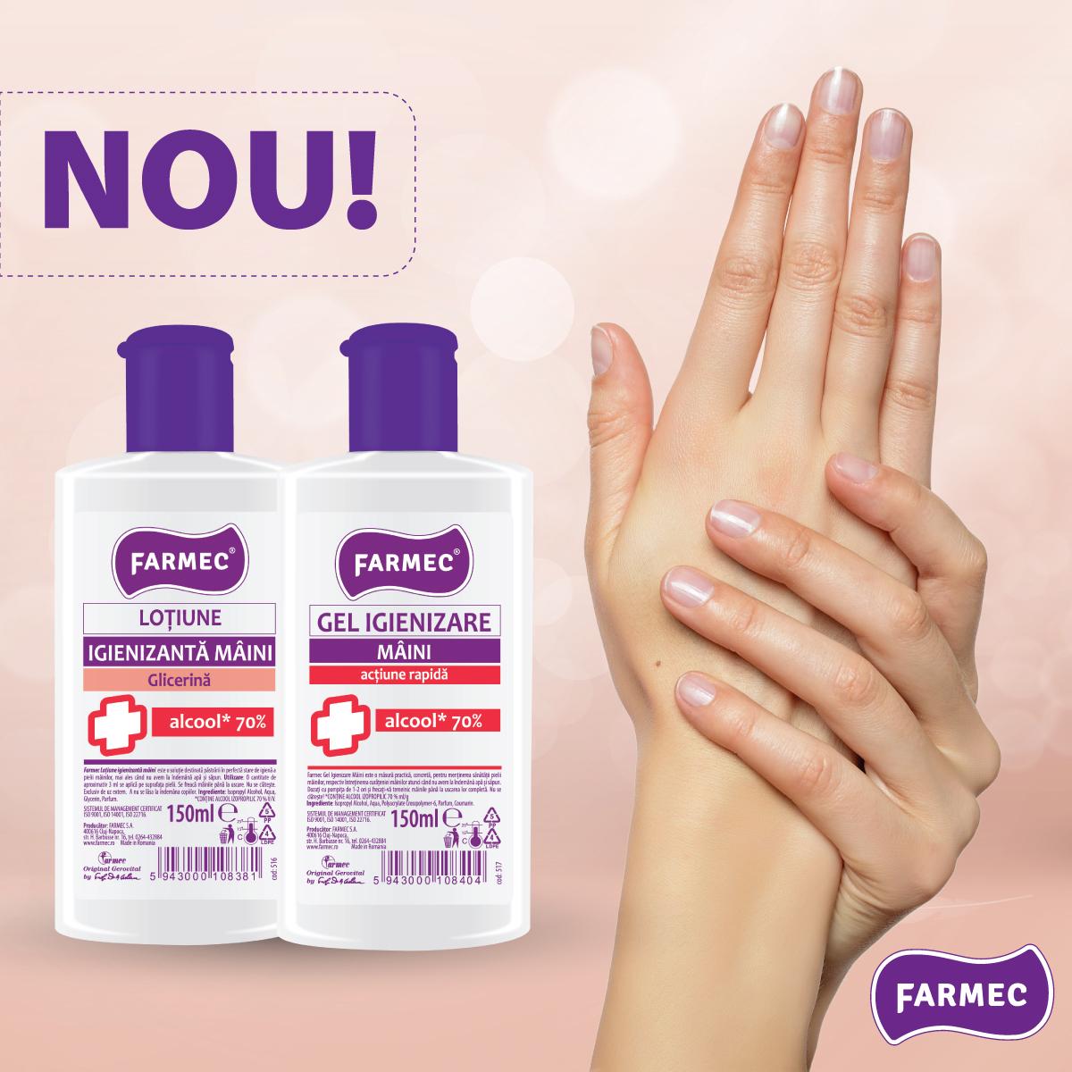 (P) Farmec începe producția a două noi produse igienizante pentru mâini
