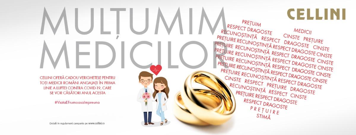 [Dă binele mai departe] #ViațaEFrumoasăÎmpreună: Cellini oferă cadou verighetele pentru toți medicii români, din prima linie a luptei contra COVID-19, care se vor căsători anul acesta