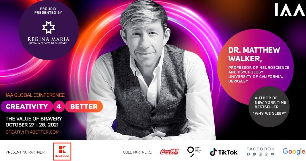 """BREAKING NEWS! Star Speaker Dr. Matthew Walker se alătură """"Creativity4Better"""" 2021"""