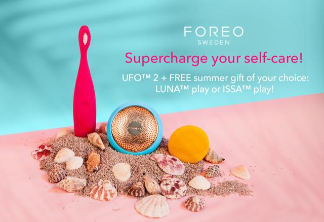 (P) Reîmprospătează-ți zilele fierbinți de vară, oferindu-ți 2 minute de tratament intens cu dispozitivul facial UFO 2 - și bucură-te de cadourile FOREO