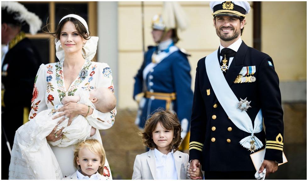 Prințesa Sofia și Prințul Carl Philip al Suediei și-au botezat mezinul